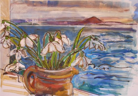 Snowdrops and Berwick Law from Pittenweem (SOLD)