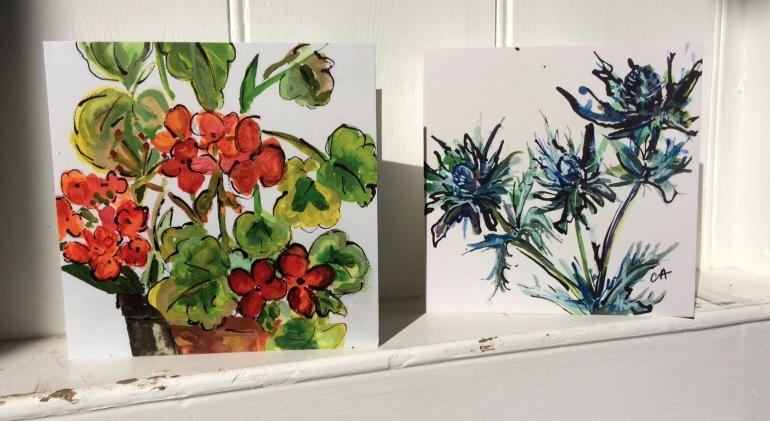 CA023 Geraniums and CA046 Sea Holly cards