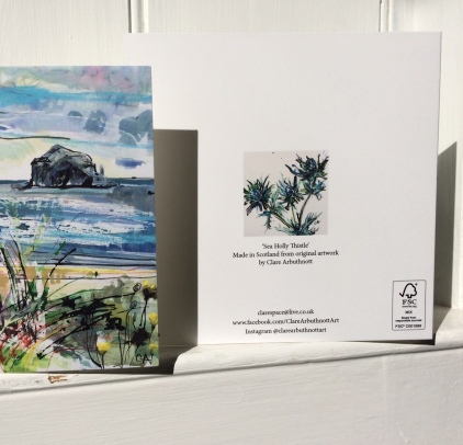 CA039 The Lamb, Craigleith and Bass Rock card with the reverse of CA046 Sea Holly Thistle