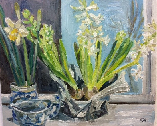 Spring bulbs and blue and white pots (oil on board)