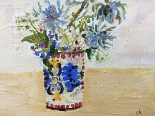 Sea Holly and Cow parsley, oil on board