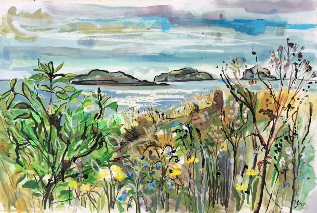 Yellowcraigs Beach. The Lamb, Craigleith Islands and The Bass Rock. September