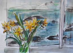 Daffodils and Berwick Law (SOLD)