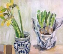Daffodils, hyacinths (oil on board)