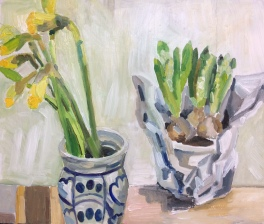 Oil hyacinths and narcissus