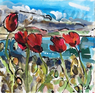 Poppies on a very breezy day (SOLD)
