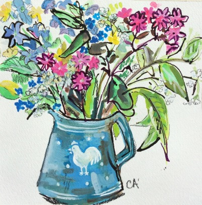 Red Campion and buttercups in borrowed jug