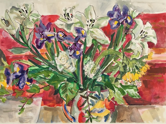 Red Still Life with Lilies