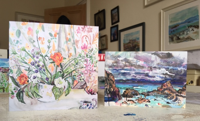 still life with rancululus and a6 card through the rocks to staffa