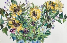 Sunflowers & Cosmos (framed 69 x 51cm)