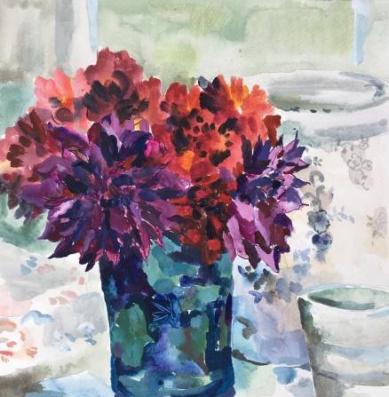 SOLD Dahlias in a Vase