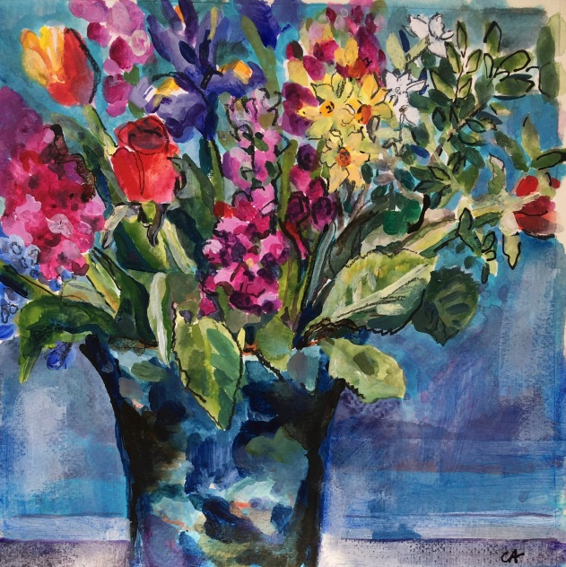 SOLD Spring Flowers on Blue