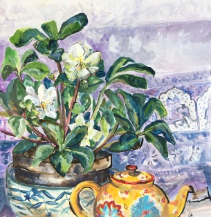 Hellebores and Teapot