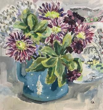 Chrysanthemums in Blue Jug