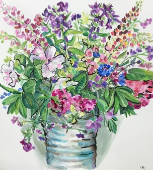 Flowers in bubbly vase