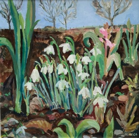 Snowdrops 30.5cm square To be in Exhibition Wild at Aberfeldy Watermill 26 August- 19 September