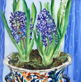 Blue Hyacinths Oil on canvas 30.5cm square