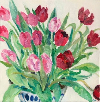 Tulips Oil on canvas 30.5cm square